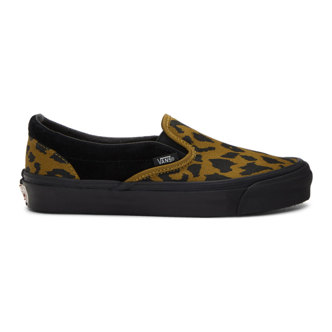 Vans Black & Brown Leopard OG Classic Slip-On Sneakers