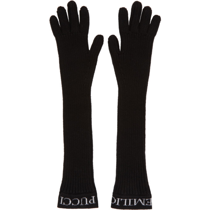 Image of Emilio Pucci Black Ribbed Wool Gloves