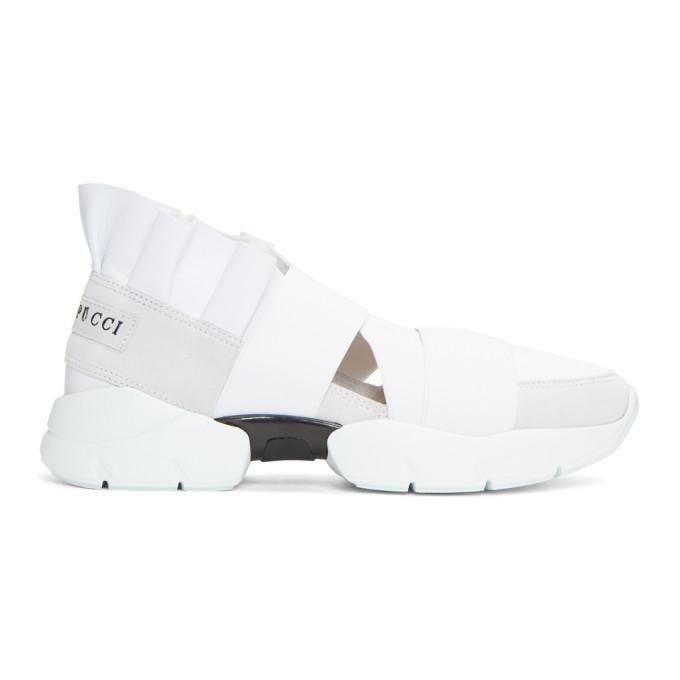 Emilio Pucci White & Grey Ruffle Sneakers