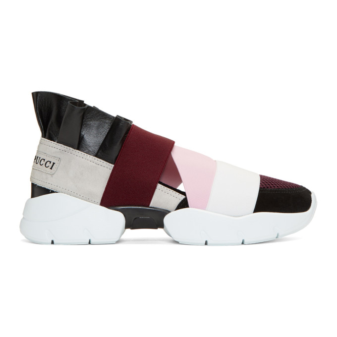 Emilio Pucci Burgundy & Black City Up Sneakers
