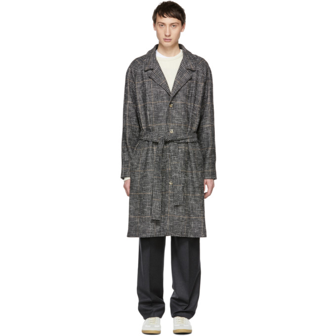ÉDITIONS M.R Editions M.R Grey Check Tristan Belted Coat in Slate Grey