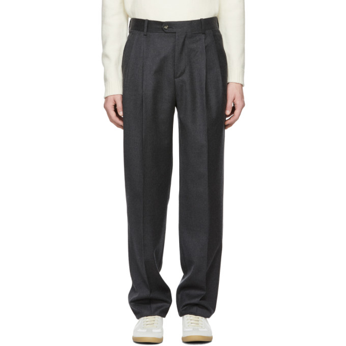 ÉDITIONS M.R Editions M.R Grey Large High-Waisted Paul Trousers in Slate Grey