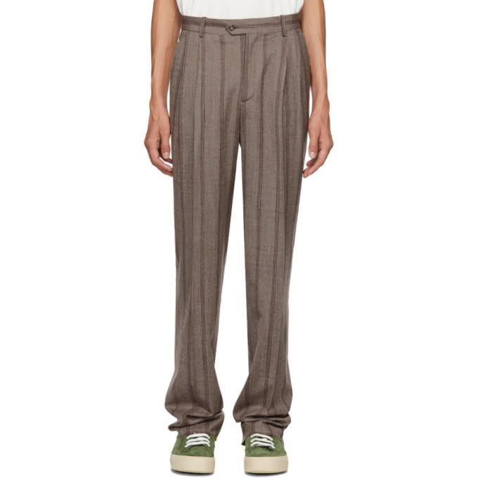 ÉDITIONS M.R Editions M.R Brown Stripe High-Waisted Trousers in Toffee