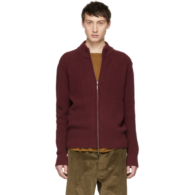 ÉDITIONS M.R Editions M.R Burgundy Jean Louis Zip-Up Sweater