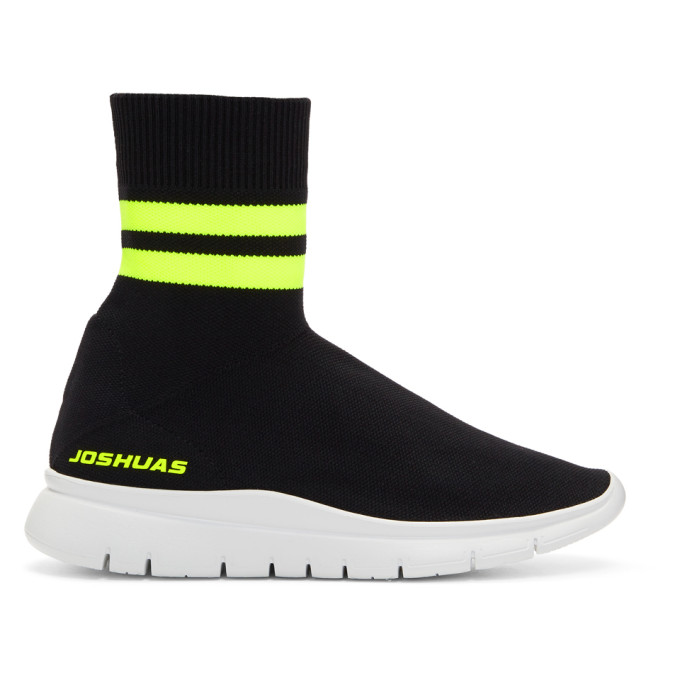 Joshua Sanders Black & Yellow Jump Neon Striped Sock Sneakers