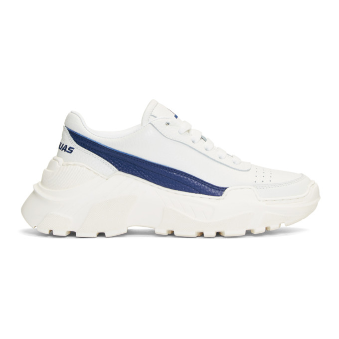 Joshua Sanders White & Blue Chunky Sole Sneakers