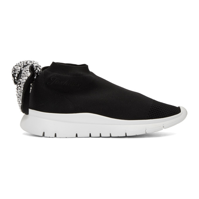 Joshua Sanders Black Crystal Bow Sock Sneakers
