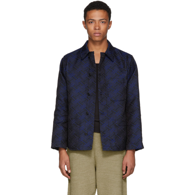 Image of Blue Blue Japan Blue Satin Damask Jacquard Oversized Jacket