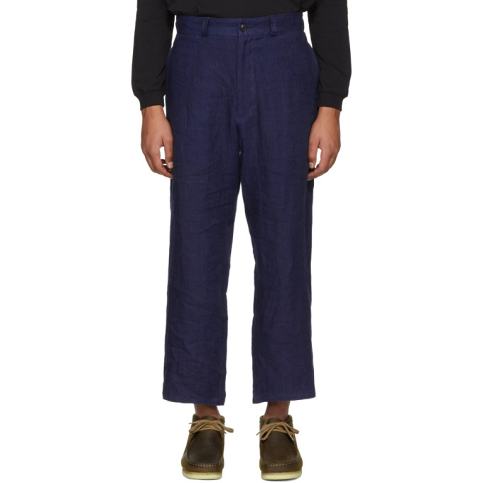 Image of Blue Blue Japan Blue Linen Twill Trousers