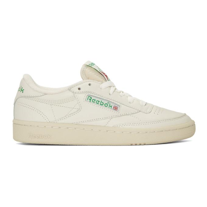 Reebok Classics White & Green Club C 85 Vintage Sneakers