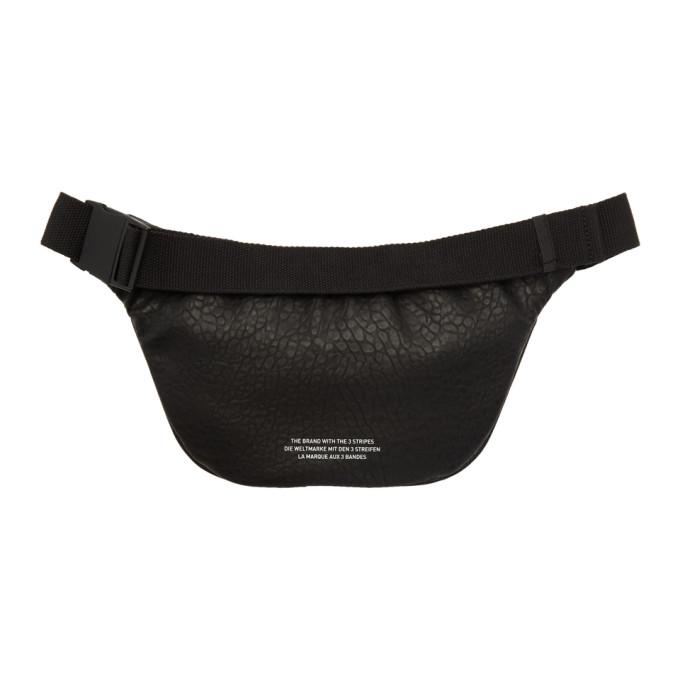 92a89de719c43 Shop Adidas Originals Black Faux-Leather Logo Fanny Pack