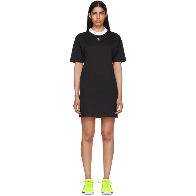Image of adidas Originals Black 3-Stripe Dress