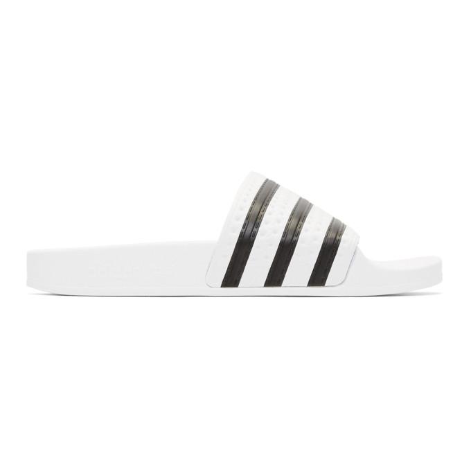 adidas Originals White Adilette Slide Sandals