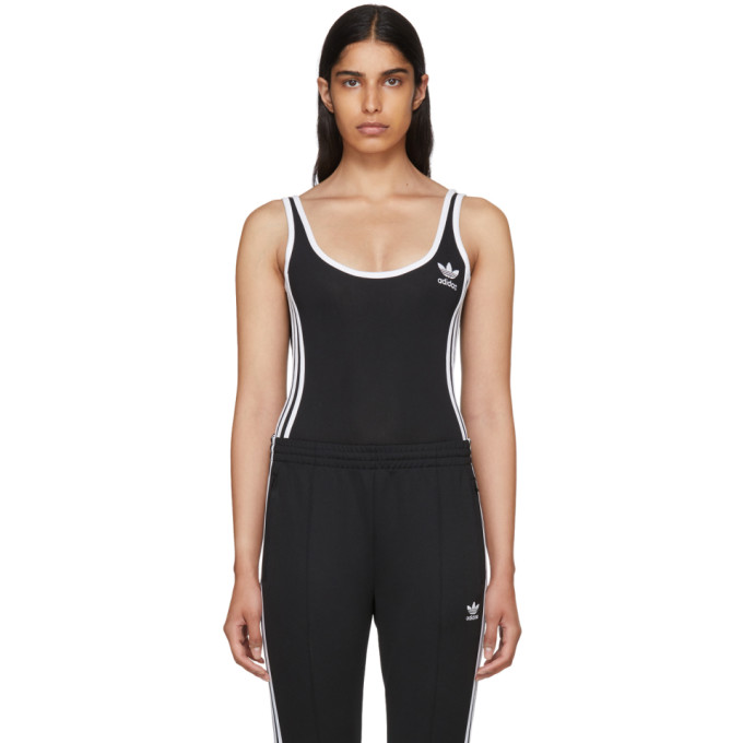 Image of adidas Originals Black 3-Stripes Bodysuit