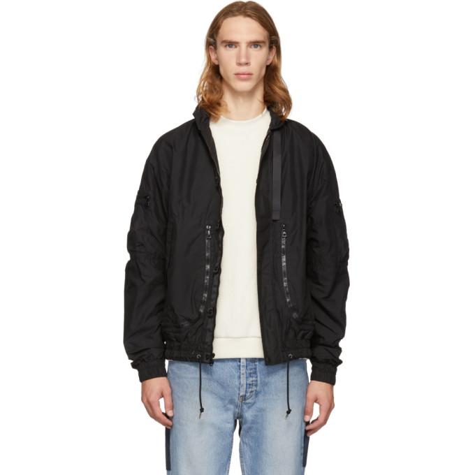 JOHN ELLIOTT Parachute Zip-Front Jacket in Black