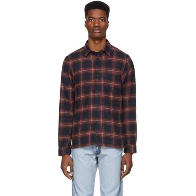 JOHN ELLIOTT Slim-Fit Checked Cotton Shirt in Brick