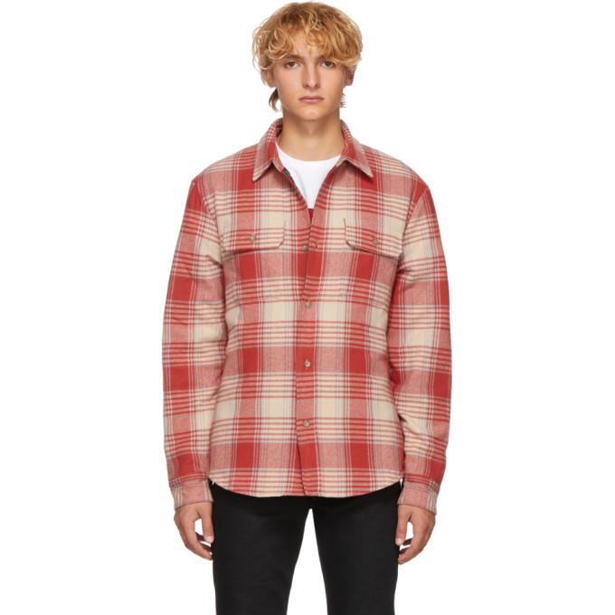 JOHN ELLIOTT Plaid Wool Flannel Padded Shirt - Red Size Xs