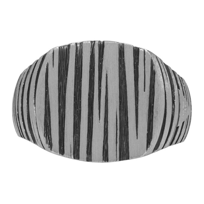 Image of Tom Wood Silver & Black Cushion Structure Ring