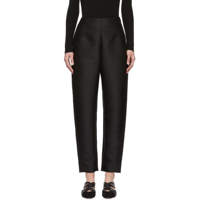 TOTÊME Toteme Black Satin Elda Trousers in 200 Black
