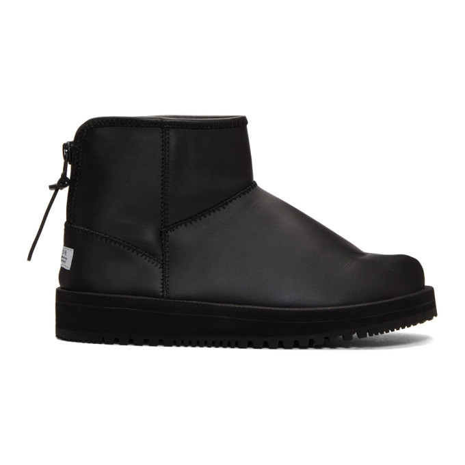 Suicoke Black Leather Toby-Lab-LO Boots