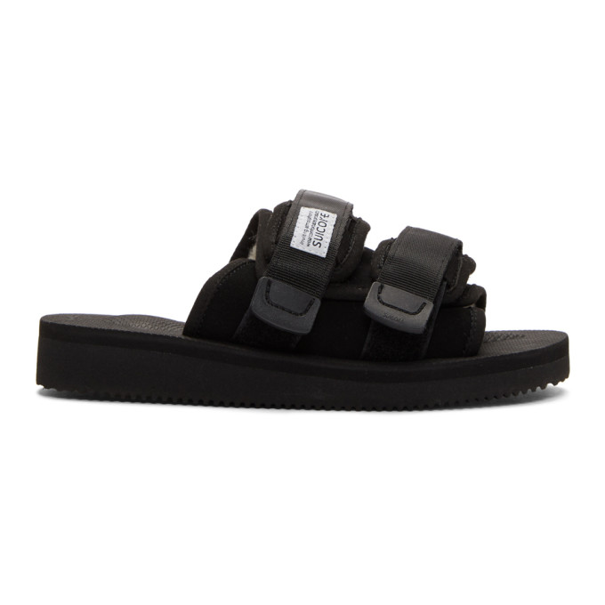 Suicoke Black Shearling-Lined Moto-M Sandals