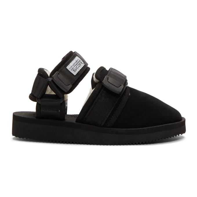 Suicoke Black Shearling-Lined Nots-M Sandals