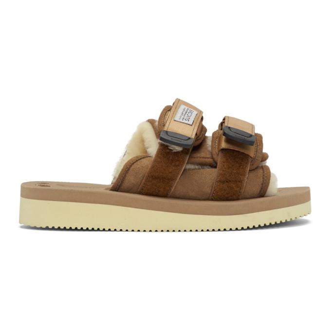 Suicoke Brown Shearling Moto Sandals