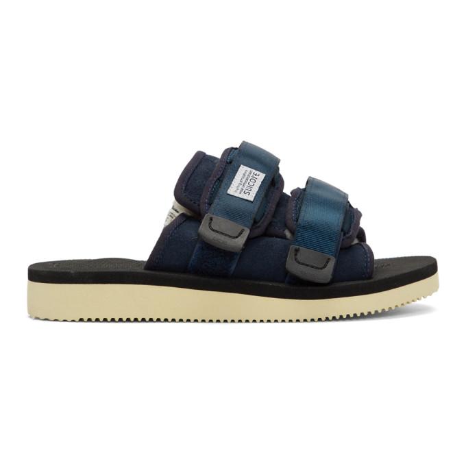 Suicoke Navy Shearling Moto Sandals