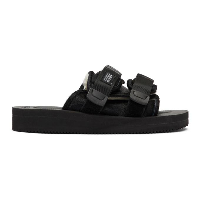 Suicoke Black Calf-Hair Moto-M Sandals