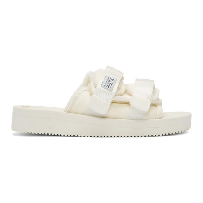 Suicoke White Calf-Hair Moto-M Sandals