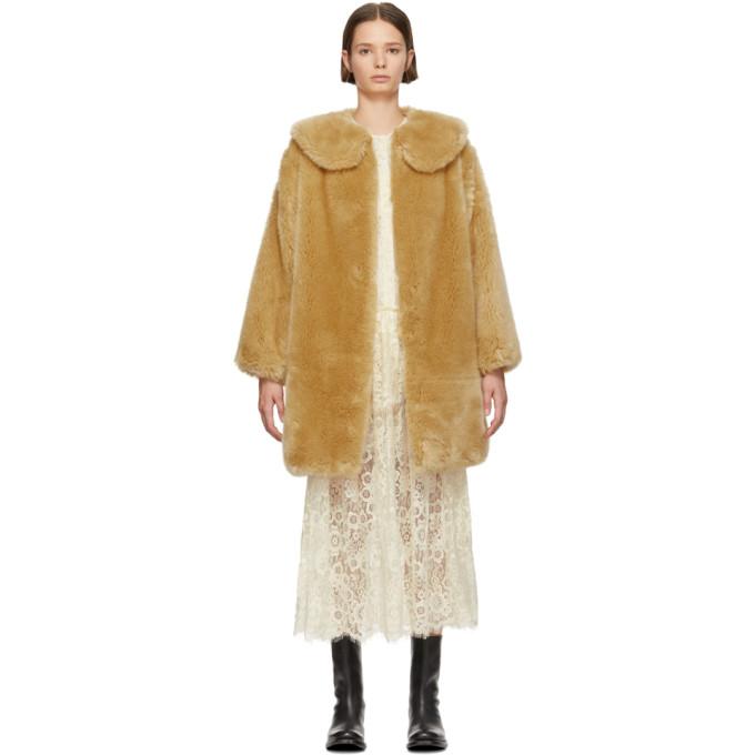 Sara Lanzi Tan Faux-Fur Coat, 01 Natural