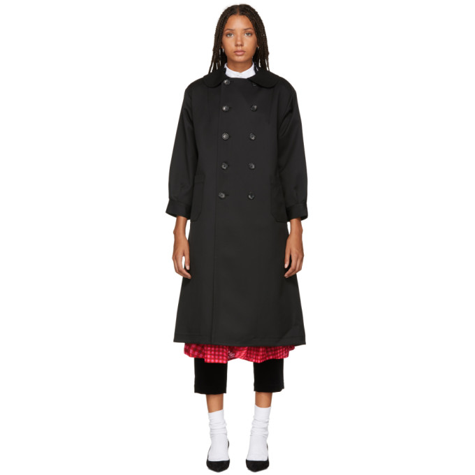 TRICOT COMME DES GARCONS Tricot Comme Des Garcons Black Double-Breasted Trench Coat in 1 Black