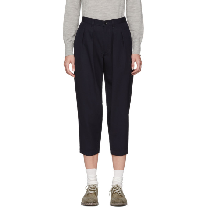 TRICOT COMME DES GARCONS Tricot Comme Des Garcons Navy Wool Pleated Trousers in 2 Navy