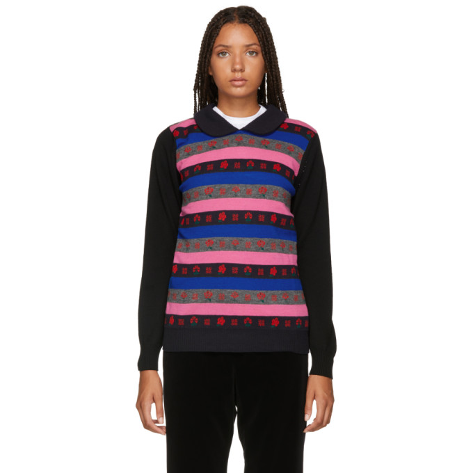 TRICOT COMME DES GARCONS Tricot Comme Des Garcons Black And Multicolor Jacquard Sweater in 1 Black