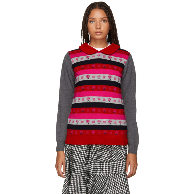 TRICOT COMME DES GARCONS Tricot Comme Des Garcons Grey And Multicolor Jacquard Sweater in 2 Top Grey