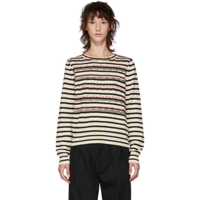 TRICOT COMME DES GARCONS Tricot Comme Des Garcons Black And White Striped Knit Sweater in 1 Black/Nat