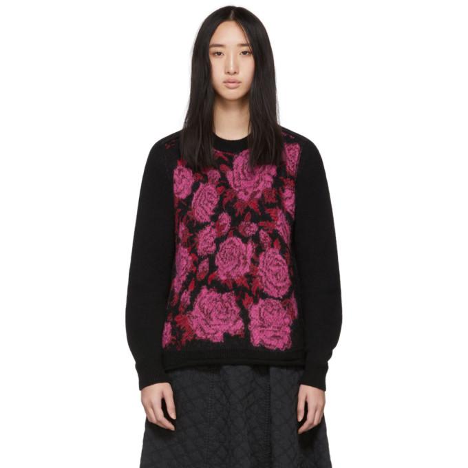 TRICOT COMME DES GARCONS Tricot Comme Des Garcons Black Floral Jacquard Sweater in 1 Black