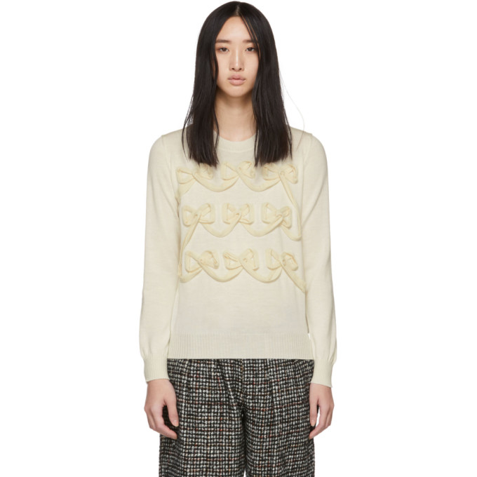 TRICOT COMME DES GARCONS Tricot Comme Des Garcons Off-White Ribbon Bow Sweater in 2 Off White