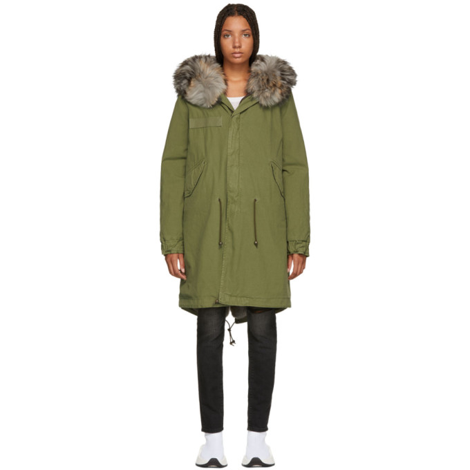 Image of Mr & Mrs Italy Green Long Fur-Lined Parka