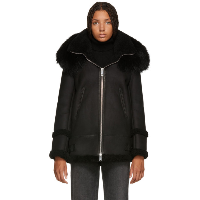 Image of Mr & Mrs Italy Black Shearling Long Fur Jacket
