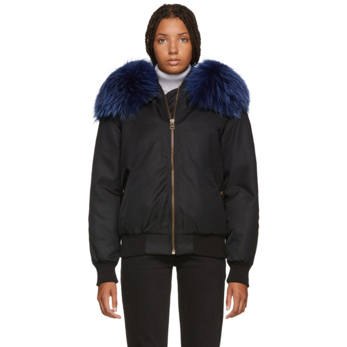 Image of Mr & Mrs Italy Black & Blue New York Fur Bomber