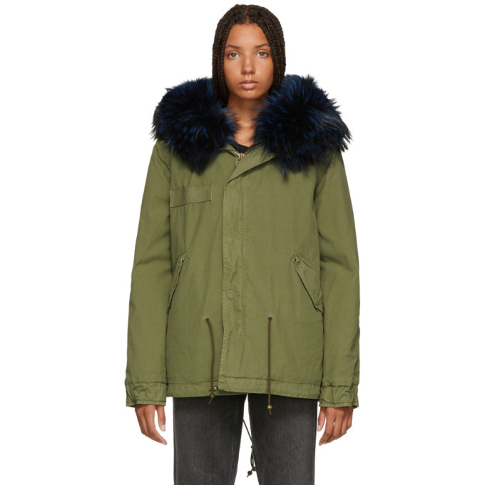Image of Mr & Mrs Italy Green & Blue Quilted Fur Jacket
