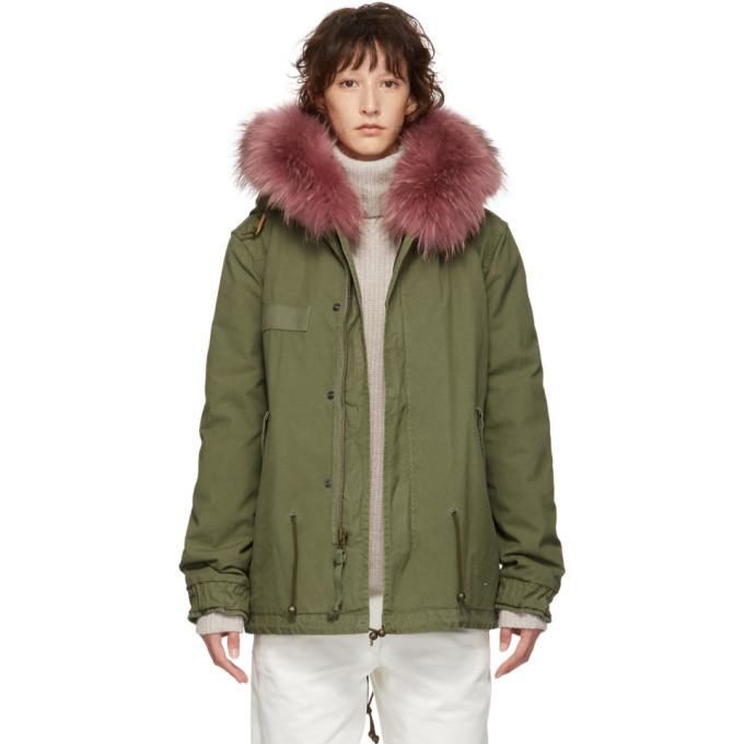 MR AND MRS ITALY Mr And Mrs Italy Green Mini Canvas Parka in 3558