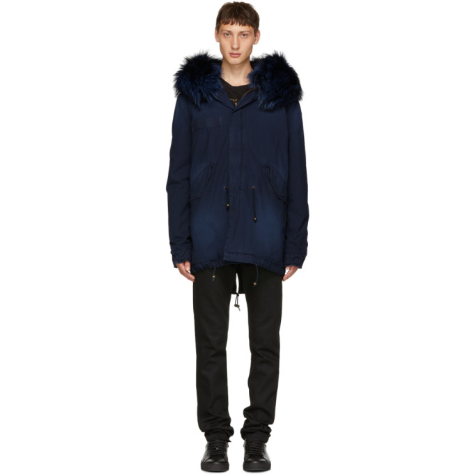 Image of Mr & Mrs Italy Blue Interior Quilt Fur Parka