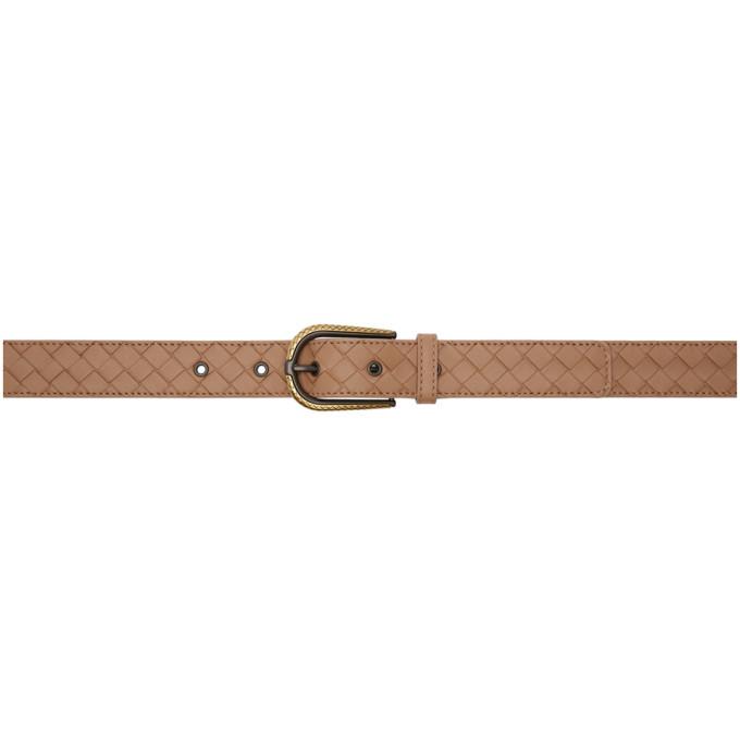 Bottega Veneta Pink Intrecciato Belt in 5732 Dahlia