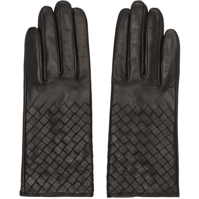 Bottega Veneta Black Leather Intrecciato Gloves