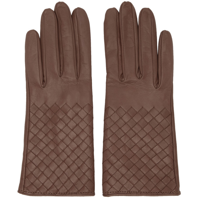 Bottega Veneta Pink Intrecciato Short Gloves