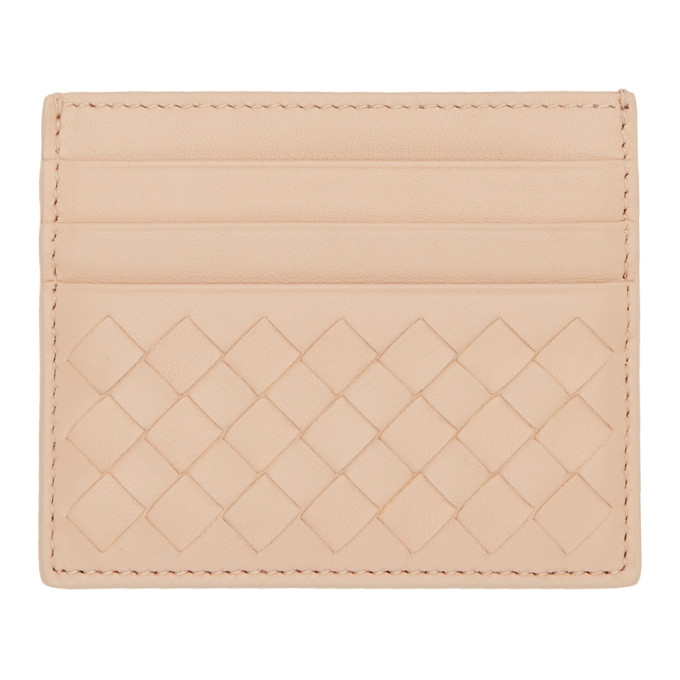 Image of Bottega Veneta Beige Intrecciato Card Holder