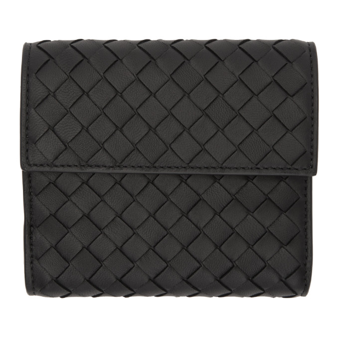Bottega Veneta Black Small Intrecciato Trifold Wallet