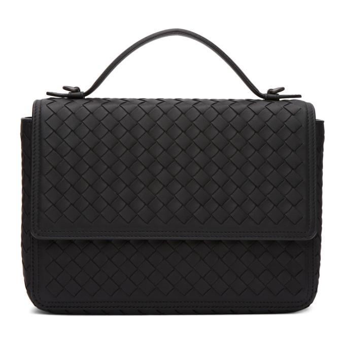 Bottega Veneta Black Intrecciato Messenger Bag